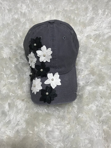 Veronica - Leather Flowers on our Gray Vintage Cap