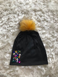 Multicolor Rainbow Gems - Black Pom Beanie