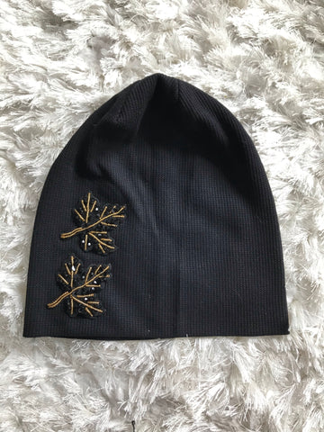 Waffle Ribbed Black Beanie - Designs