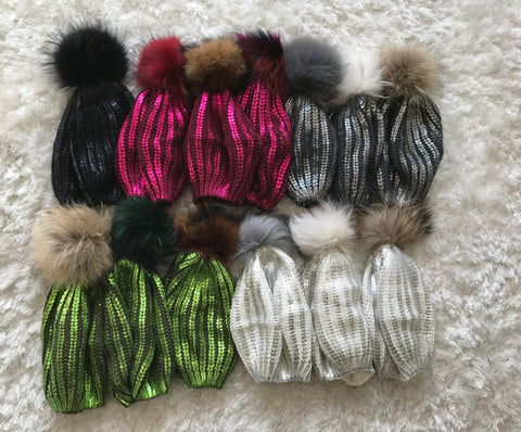 Metallic Beret (With and Without Fur Pom