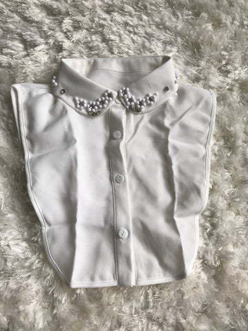 Flower Crystal False Collar Shirt