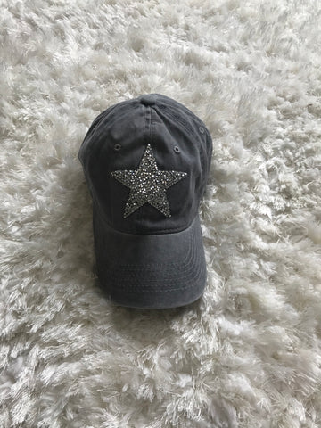 Silver Rhinestone Star - Light Gray Vintage Cap