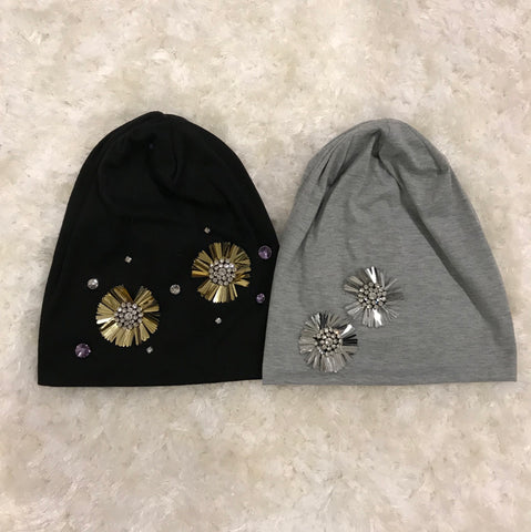 Betty - Gold/Silver Diamond Flower Jersey Cotton Beanie