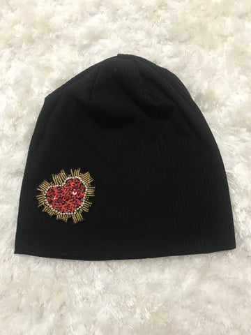 Black Ribbed Sequin Heart Beanie