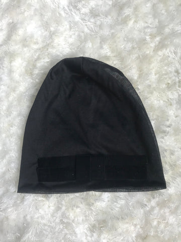 Velour Bow Lightweight Black Cotton Beanie
