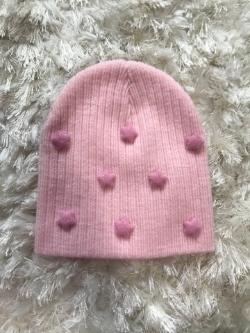 Light Pink Wool Ribbed Beanie - Pink Stars ✨