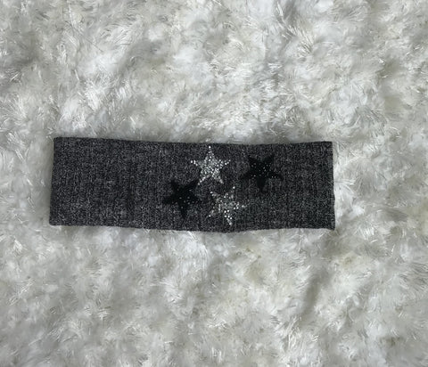 Four Star Black Sweater Ribbed Headband
