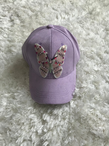 Large Colorful Butterfly - Light Purple Suede Cap