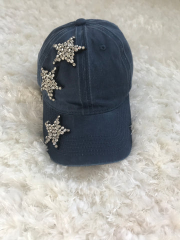 Crystal Stars - Navy Washed Out Cap