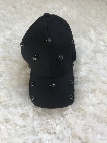 Black Scattered Gems Cotton Cap