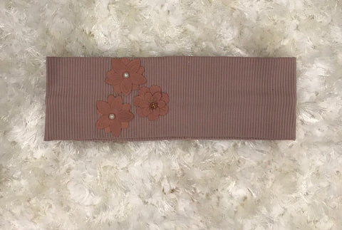 Veronica - Mauve pink Band with leather flower design
