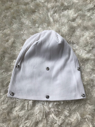 Scattered Rhinestone Gems - Ribbed Beanie
