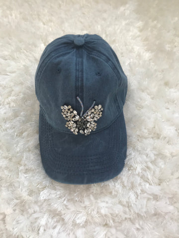 Crystal Butterfly - Blue Denim Washed Out Cap