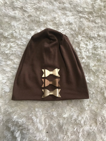 Gold Bows Tan Cotton Beanie