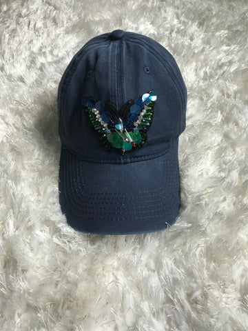 Colorful Rhinestone Butterfly - Vintage Blue Cap