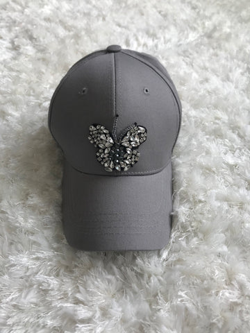 Crystal Butterfly - Light Gray Cap