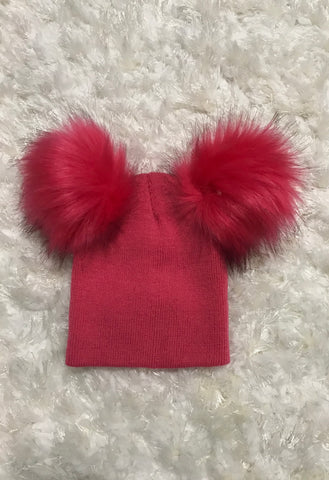 Hot Pink Baby Wool Double Pom Pom Hat