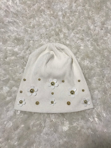 Ivory Ribbed Daisy Flower + Pearl Beanie