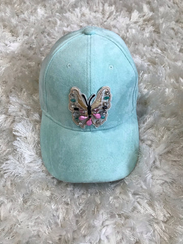 Crystal Butterfly - Mint Suede Cap