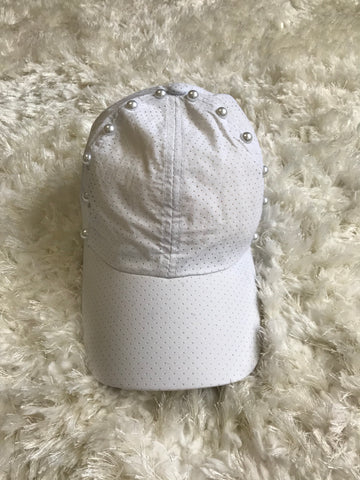 Pearl Design on Border - White Dry Fit Cap