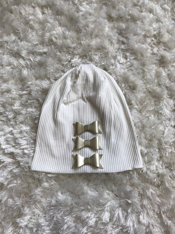 Cotton Ribbed Beanie - Gold Leather Bows
