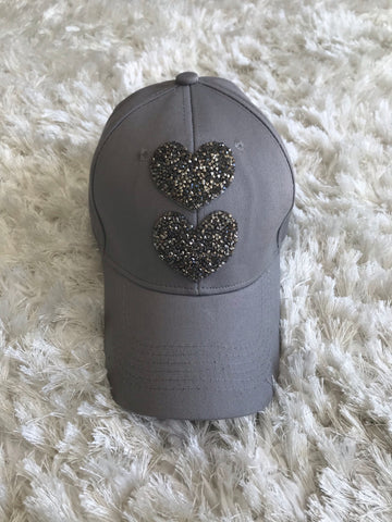 Rhinestone Hearts - Gray Cotton Cap