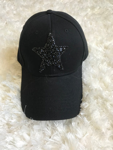 Black Rhinestone Star - Cotton Baseball Cap