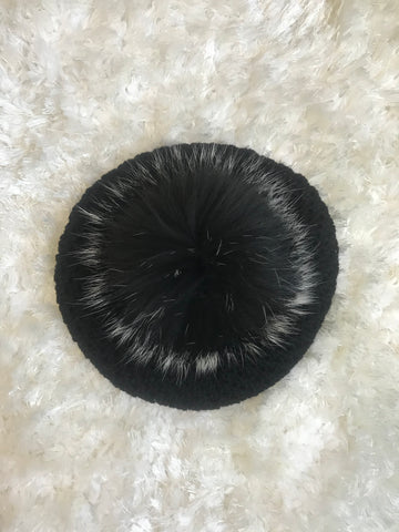 Black Acrylic Beret - Black + White Tips Pom