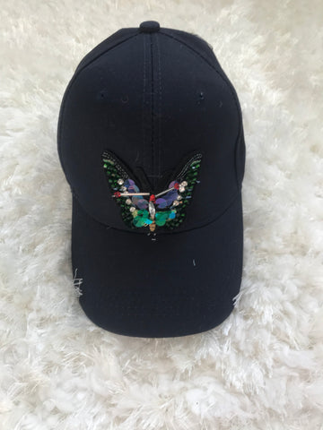 Colorful Rhinestone Butterfly - Navy Cotton Cap