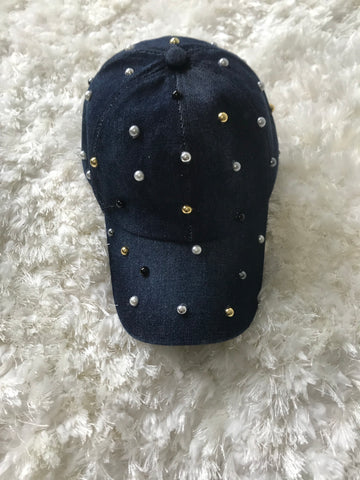 Multicolor Pearls - Medium Wash Denim Cap