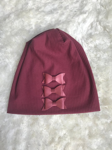 Leather Bow Maroon Ribbed Beanie