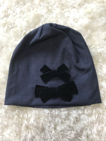 Denim Beanie - Navy Velour Bows