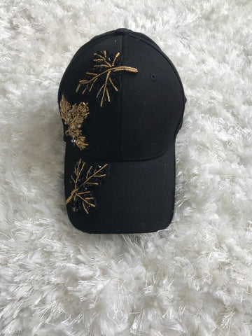 Leaf Autumn Design - Black Cotton Cap