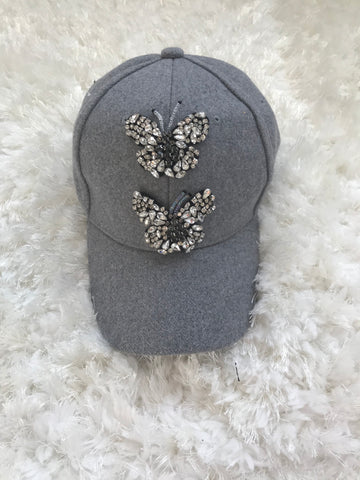 Crystal Butterfly - Light Gray Wool Cap