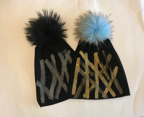 Painted Beanie with Pom