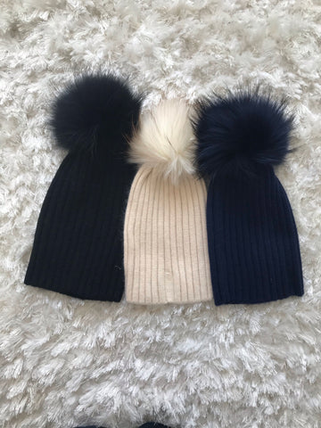 Acrylic Ribbed Beanie with Pom