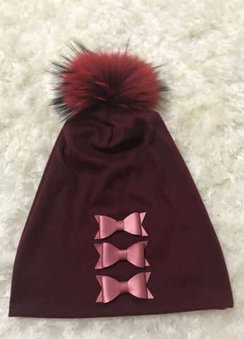 Maroon - 3 Leather Bows Beanie