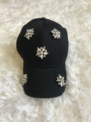 Ricki - Clear Crystal Flower Black Cotton Cap