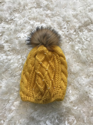 Mustard Pearl Cable Warm Hat