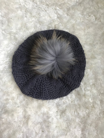 Gray Cable Knitted Beret
