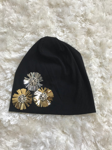 Betty - Gold/Silver Diamond Flower Ribbed Cotton Beanie