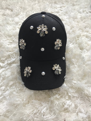Eilene - Pearl + Crystal Bead Design on Black Cotton Baseball Cap