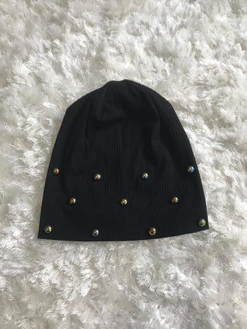 Multicolor Chrome Pearl Black Ribbed Beanie