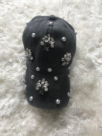 Eilene - Pearl + Graphite Crystal Bead Design on Vintage Black Cap