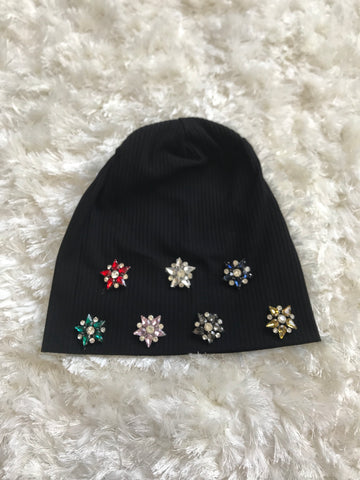 Ricki - Colorful Crystal Flowers on Black Ribbed Beanie