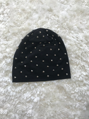 Metallic/Black Studs - Black Cotton Lightweight Beanie