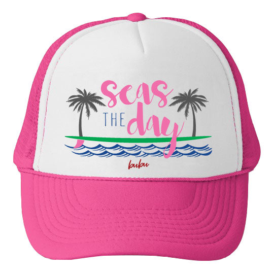 Bubu - Seas The Day White / Hot Pink Trucker Hat