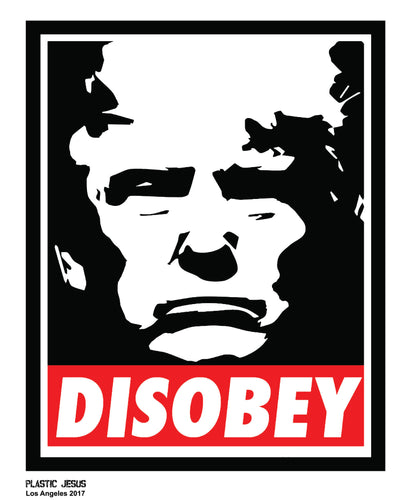 Disobey art print inspired by Obey Giant by Street artist Plastic Jesus