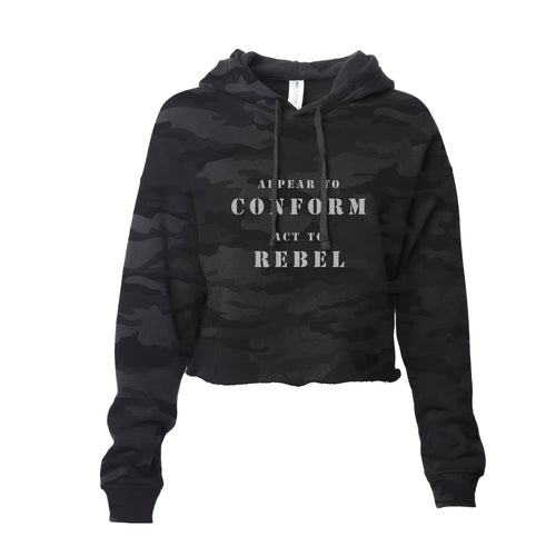 Women's crop hooded pullover.