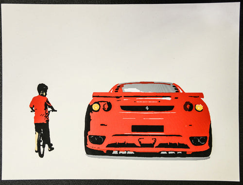 Ferrari art canvas with child on bike.